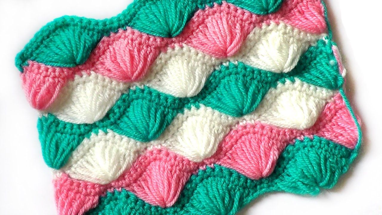 Crochet pattern Fans of elongated stitches - YouTube | Crochet ...