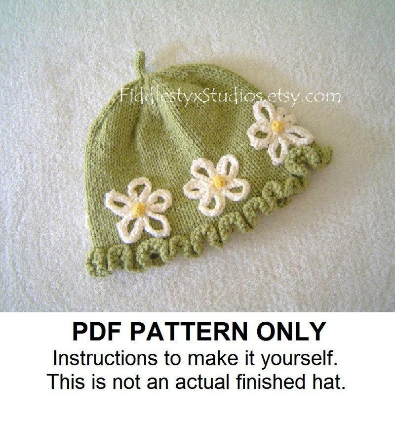 PDF KNITTING PATTERN - Baby Girl Hat Knitting Pattern - Daisy Cloche ...