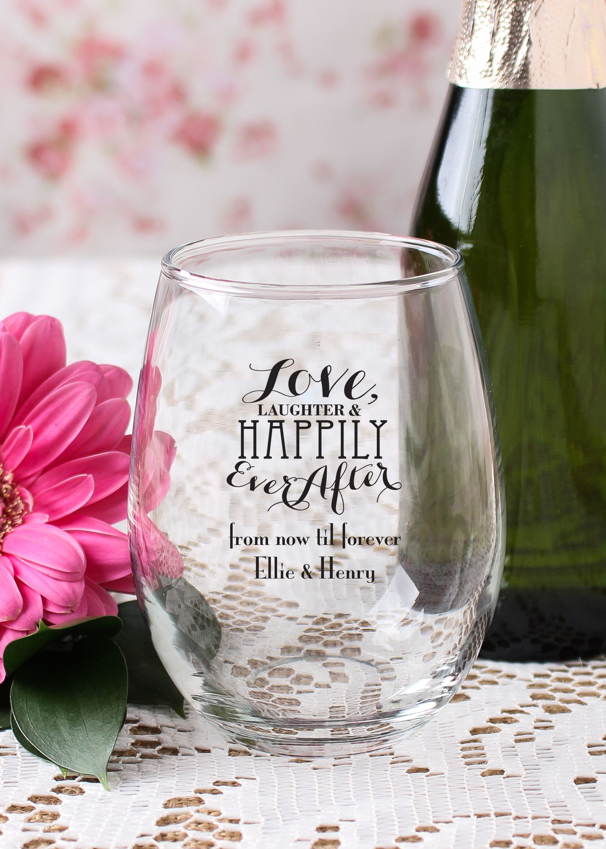 Personalized 9 oz. Stemless Wine Glass | Wedding, Wedding and Bridal ...