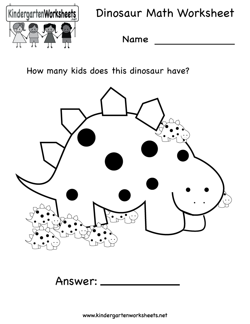 Kindergarten Dinosaur Math Worksheet Printable – Math for Kids Worksheet