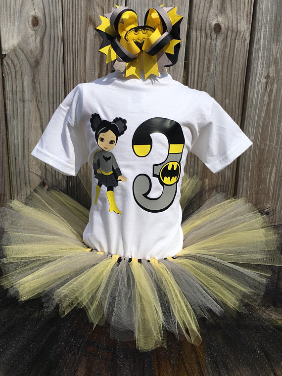 Batgirl Birthday Outfit Bat Girl Super Hero Party Shirt Batman B