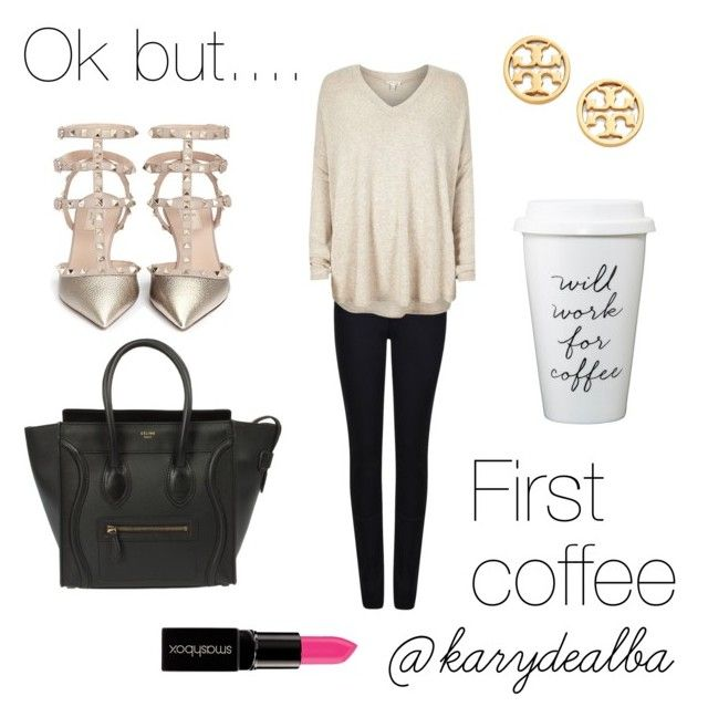 """Monday outfit ☀️"" by karydealba on Polyvore featuring Armani Jeans, Valentino, CÉLINE, River Island, Tory Burch, Smashbox, women's clothing, women, female and woman"