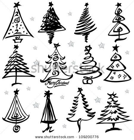 Vector Illustration Of Christmas Tree Design Set Christmas Tree Design Christmas Tree Drawing Ribbon On Christmas Tree