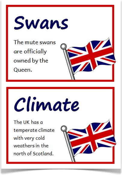 United Kingdom Fact Cards - Treetop Displays - A set of 18 A5 fact ...