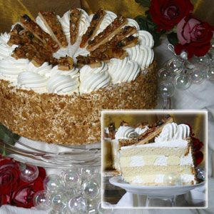 Tres Leches Cake walnut topping on outside and in between layers
