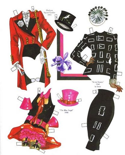Marlene Dietrich paper doll clothes / paperdollywood.com