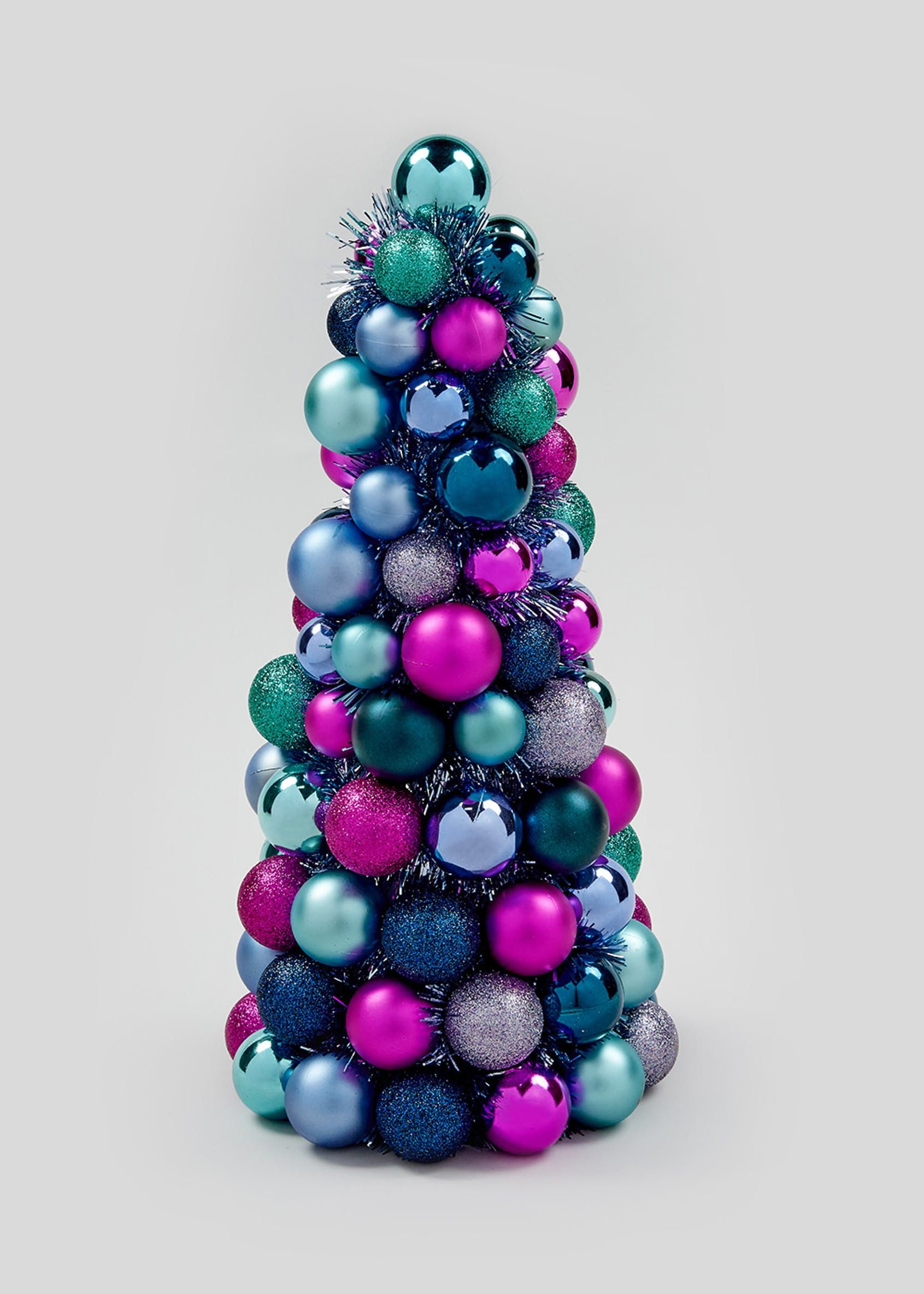 Christmas Bauble Tree 40cm Multi Christmas Tree Table Decorations Christmas Tree Decorations Christmas Tree On Table