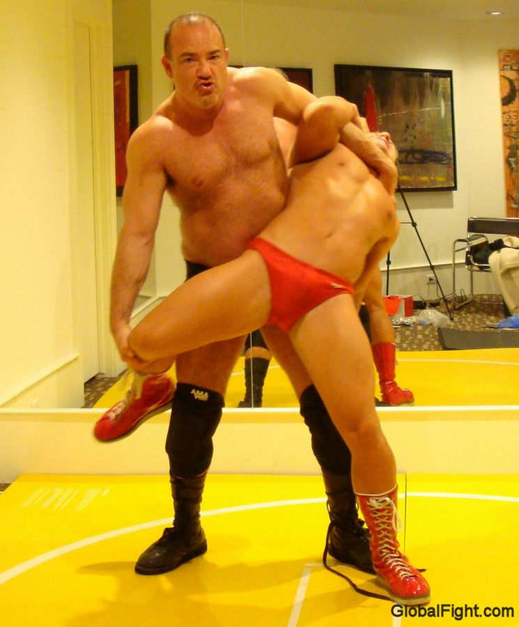 Big versus small male domination wrestling