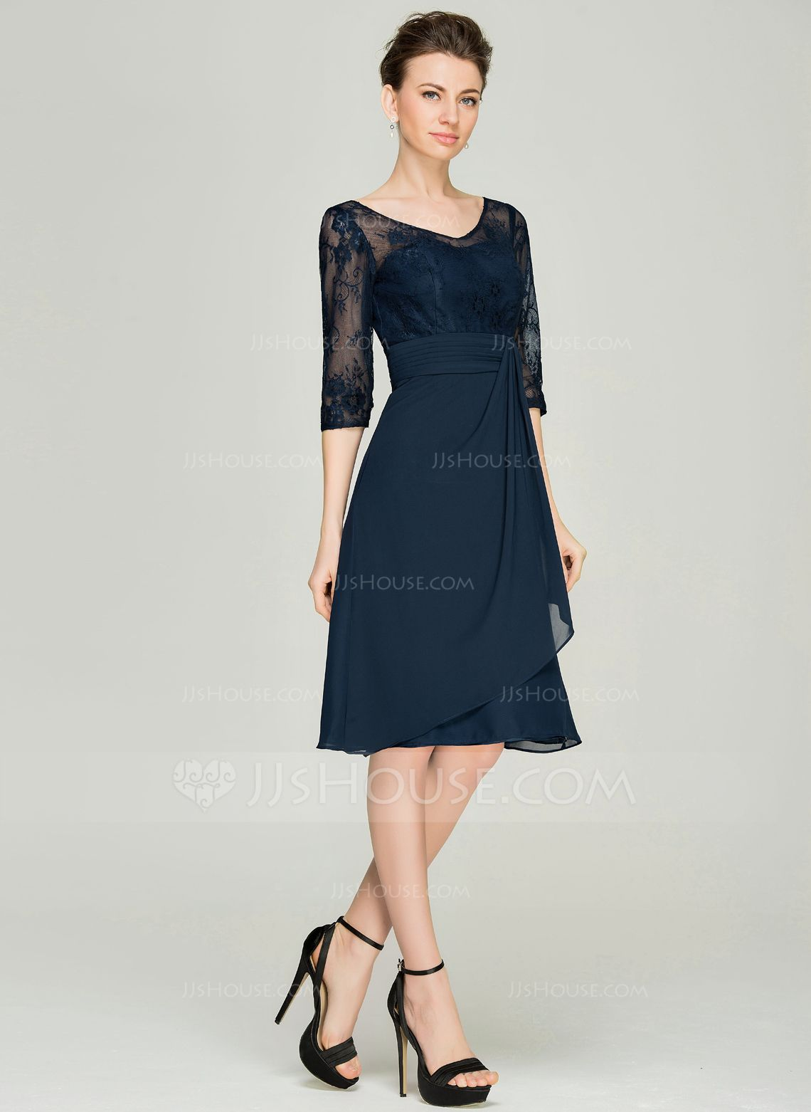 e609f390bc566c A-Line/Princess V-neck Knee-Length Chiffon Lace Mother of the Bride Dress  With Cascading Ruffles (008062577) - JJsHouse