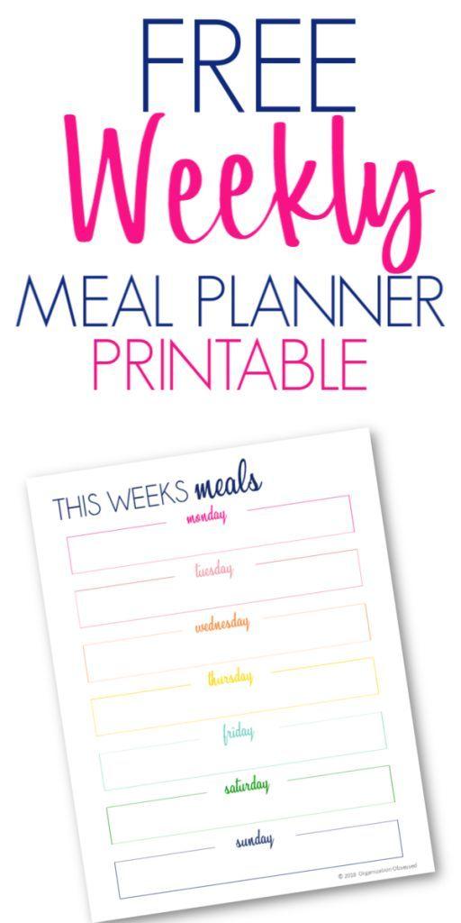 Kostenlose Mahlzeit Planer zum ausdrucken   – Free meal planner