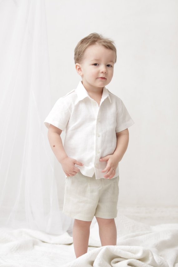 27299d5b Baby Boy outfit Wedding party 1st birthday outfit Baptism linen shirt  Shoulder strap Boys boy clothe