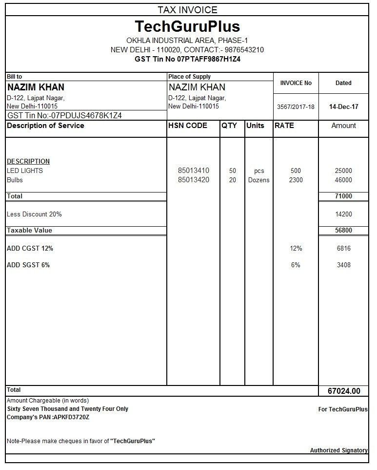 Gst Tax Invoice Format In Excel Gst Tax Invoice Format Exe