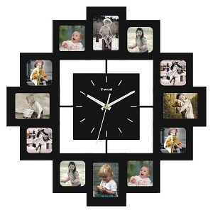 Create Your Own 12 Photo Collage Frame Blue Square Wall Clock Zazzle Com Framed Photo Collage 12 Photo Collage Photo Collage