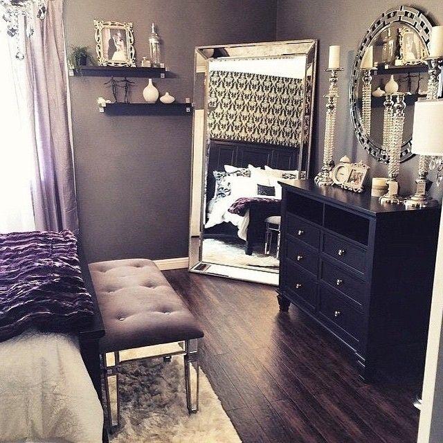 Beautiful Bedroom Decor, Black Dresser, Silver Mirror, Silver Candles, And  Black White Silver Decor.