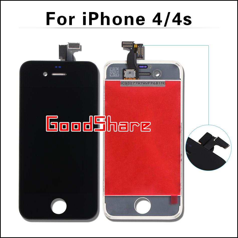 Concurrentiel AAA Pour iphone 4/4s Écran LCD Tactile Digitizer Assemblée Affichage pour iphone4 Cadre Pantalla Remplacement Noir/Blanc