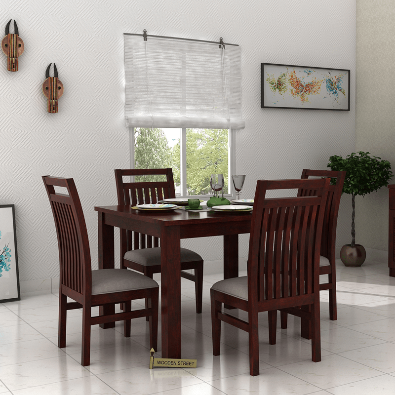 Buy Hasbro 4 Seater Dining Set Mahogany Finish Online In India Wooden Street Wooden Dining Table Designs Simple Dining Table Indian Dining Table