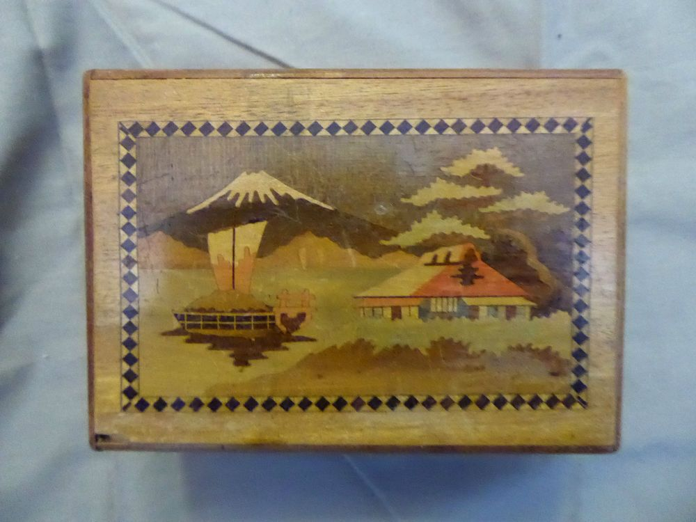Rare Antiuque Vintage Old Japanese Wood Puzzle Box Asian Mount