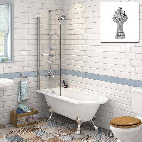 1510mm Small Victoria Traditional Roll Top Bath & 6mm ...