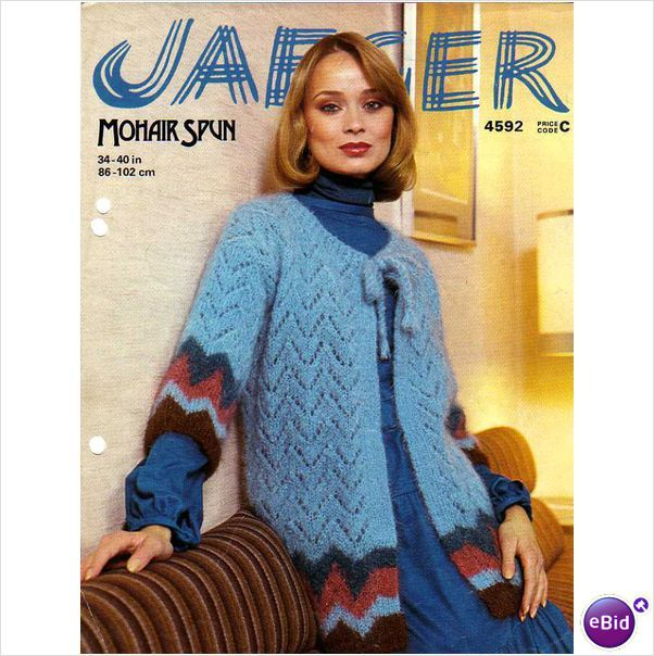 Jaeger Mohair Spun Ladies Sleeved Cape With Border Knitting Pattern