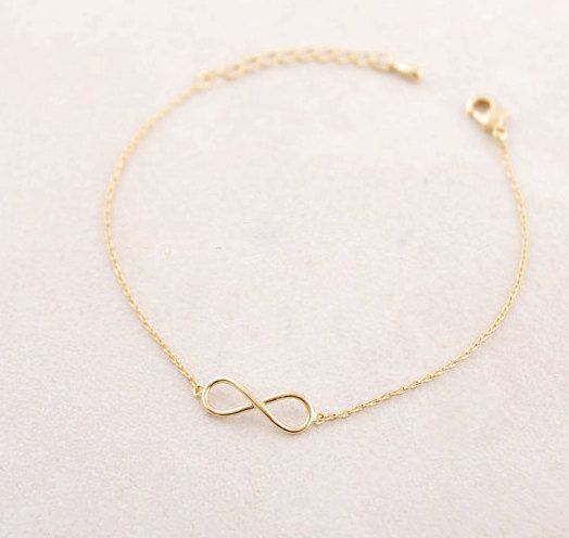 Dainty & Delicate Gold or Silver Plated Infinity Loop Bracelet Charm with extension chain