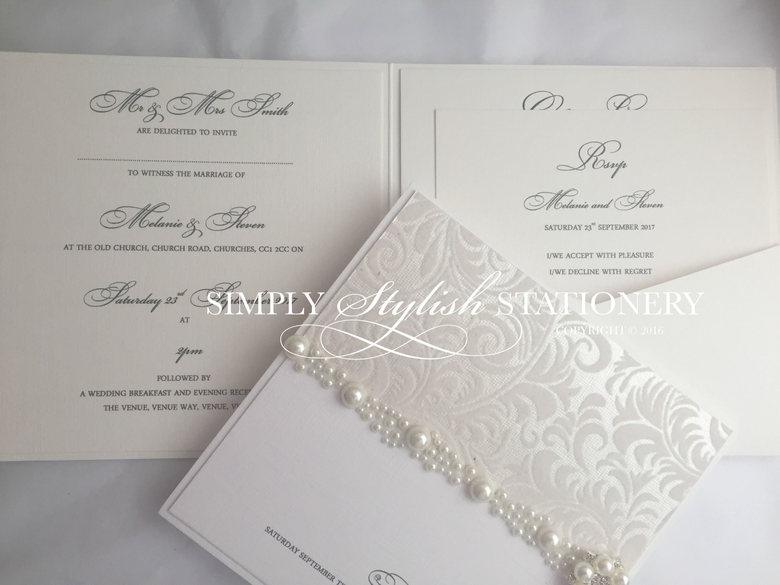 how to emboss wedding invitations diy%0A SAMPLE Luxury Pearl Wedding Invite  Handmade pocketfold invitation  embossed  invite with pearl embellishment