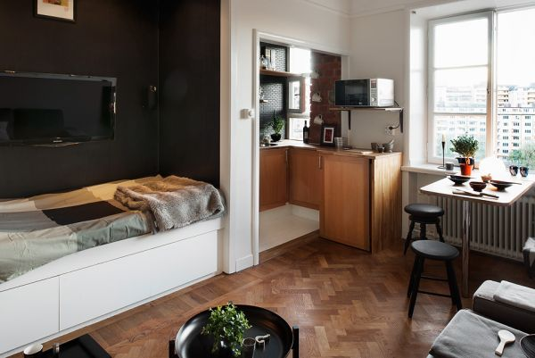 One Room Living 10 small one room apartments featuring a scandinavian décor