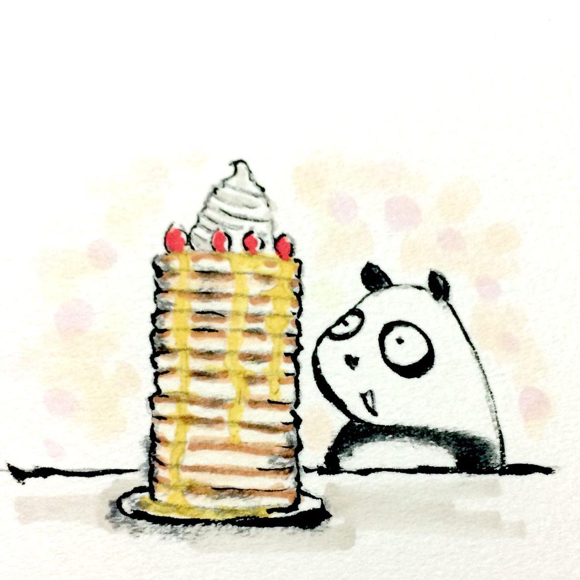 一日一大熊猫 205 4 25 ホットケーキとパンケーキの違いを調べたところ 特に明確な区別はないみたいだね ホットケーキ パンケーキ パンダ http osaru panda jimdo com