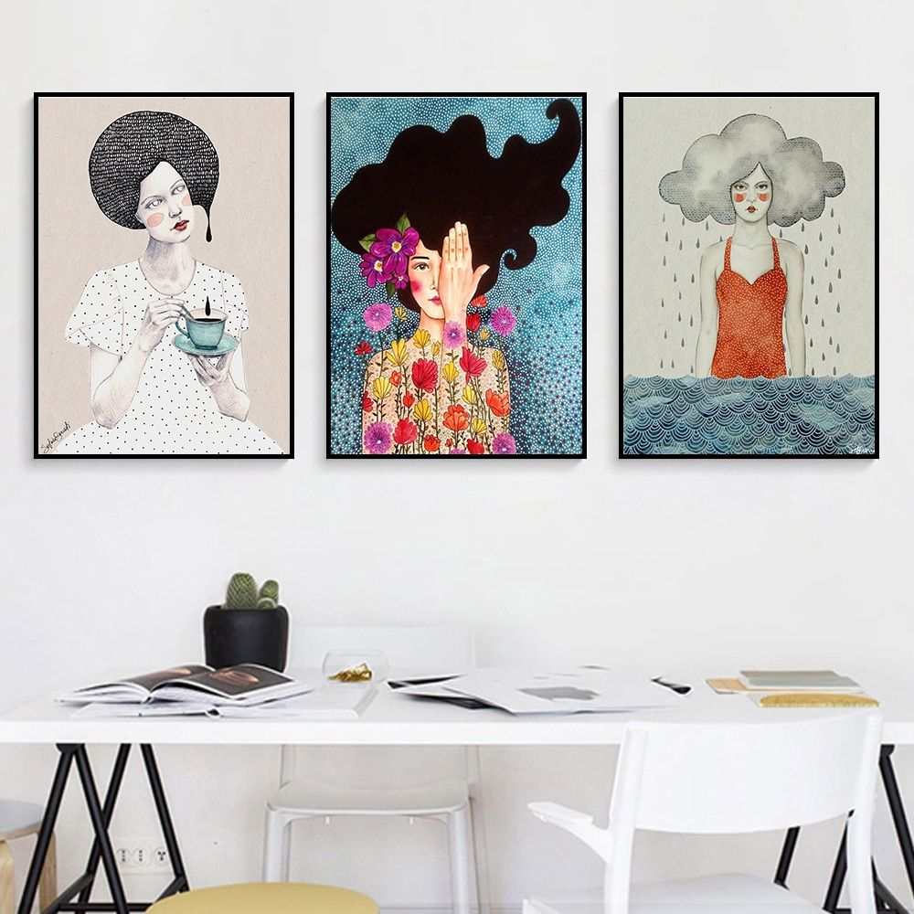 Nordic Style Painting Canvas Girl Cuadro Romantic Wall Art Decor Prints Harvest Cartoon For Girls Bedroo Wall Art Decor Prints Romantic Wall Art Cool Wall Art