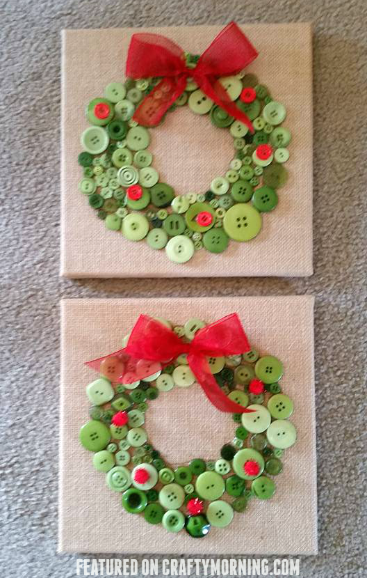 Button christmas wreath crafts for kids to make on a canvas for gifts! #ribboncrafts
