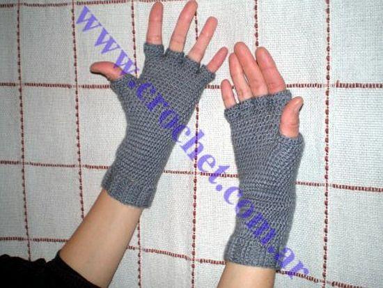 Guantes sin dedos tejidos a crochet http://www.crochet.com.ar ...