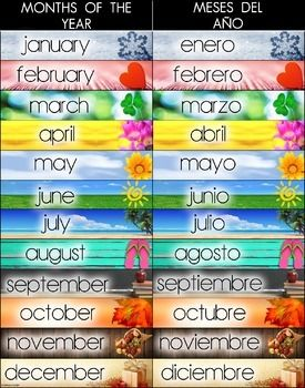 bilingual months of the year poster spanish and english de la
