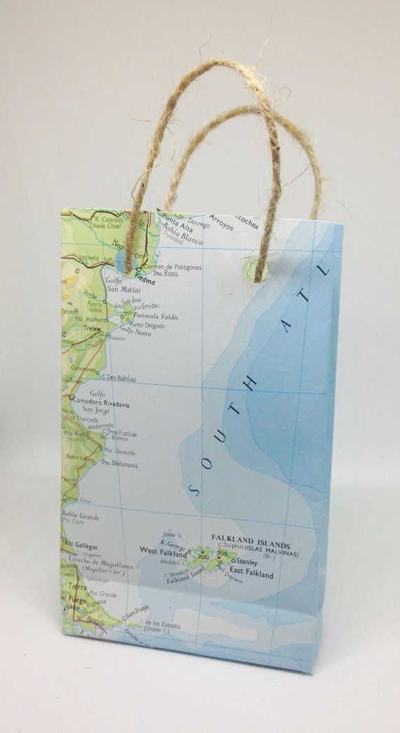 world map paper gift bag small bon voyage by theprocraftinator