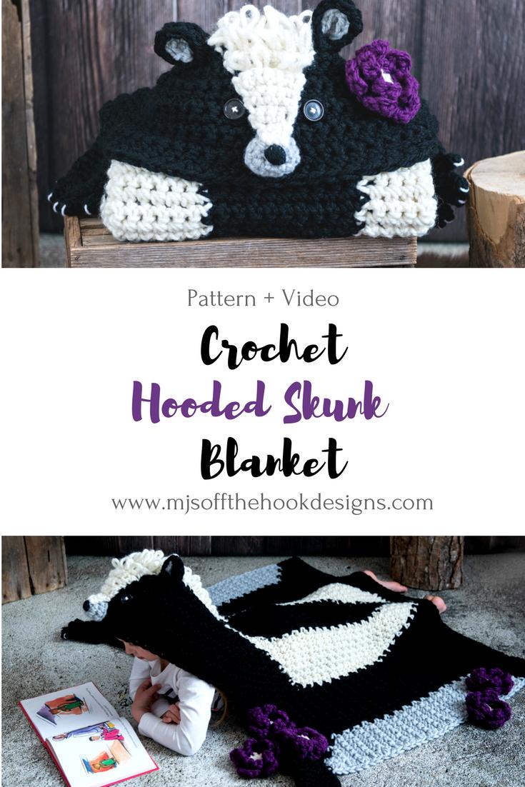 Crochet Hooded Woodland Skunk Blanket | Crochet Ideas & Patterns