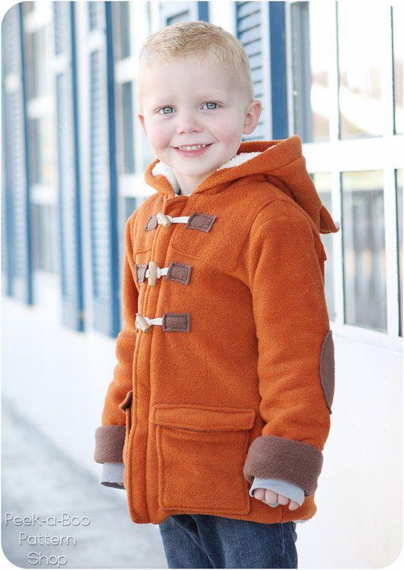Duffle Coat Winter Pattern, Winter Coat Sewing Pattern Baby