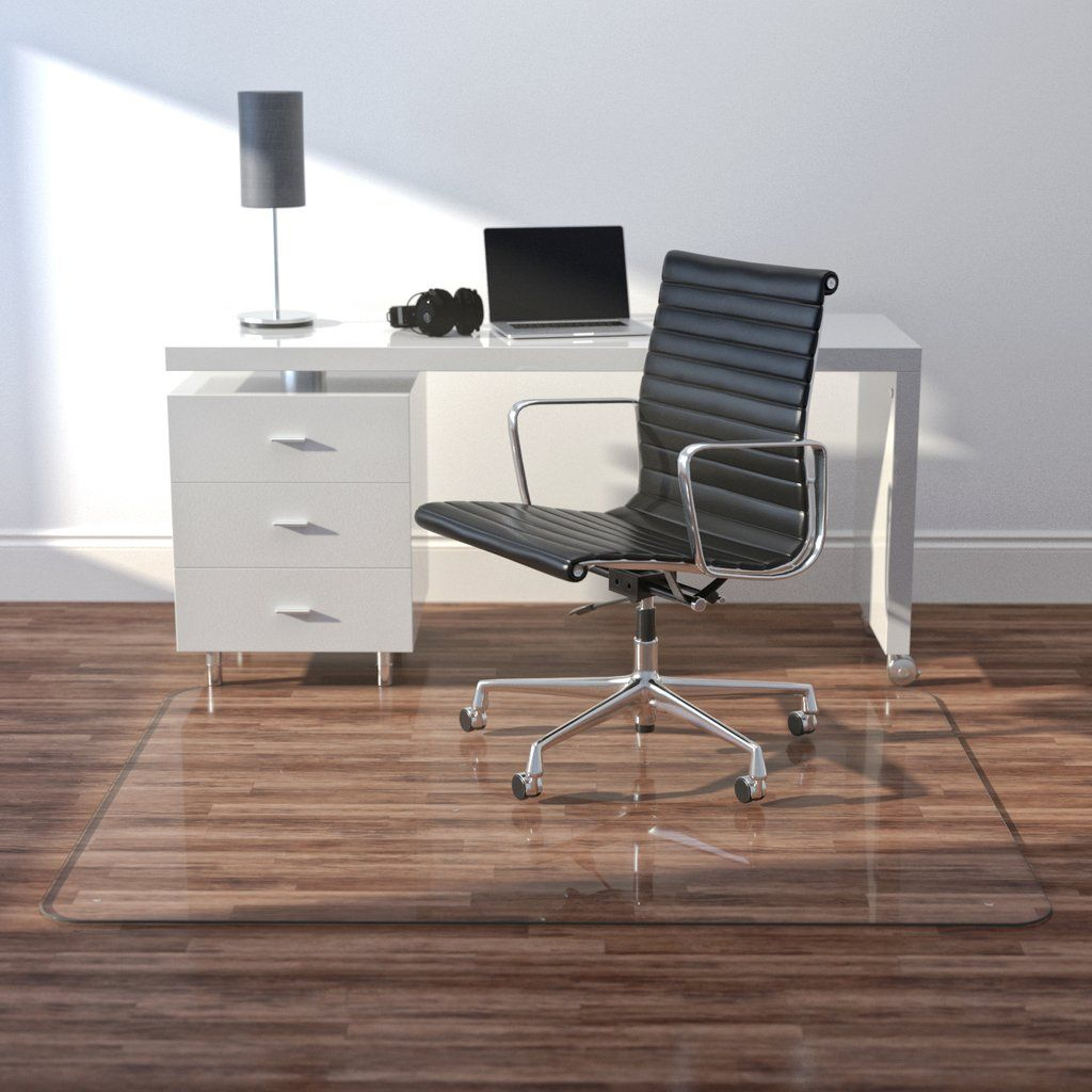 """46""""x60"""" Glass Office Chair Mat by Vitrazza in 2020 Glass"""