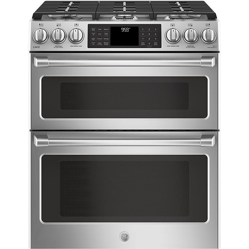 Ge Cafe Series Cgs995selss 30 Slide In Gas Double Oven With