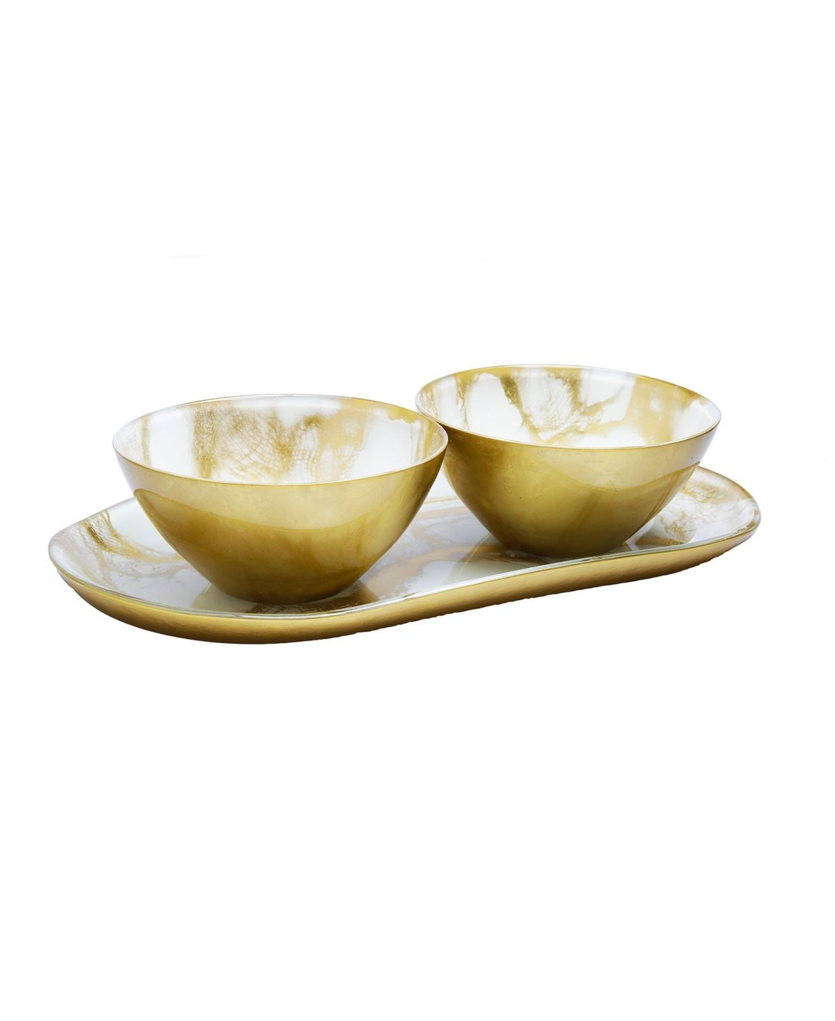 Classic Touch Marbleized 2 Bowl Relish Dish Reviews Vases Home Decor Macy S Gold Marble Decorative Bowls Classic