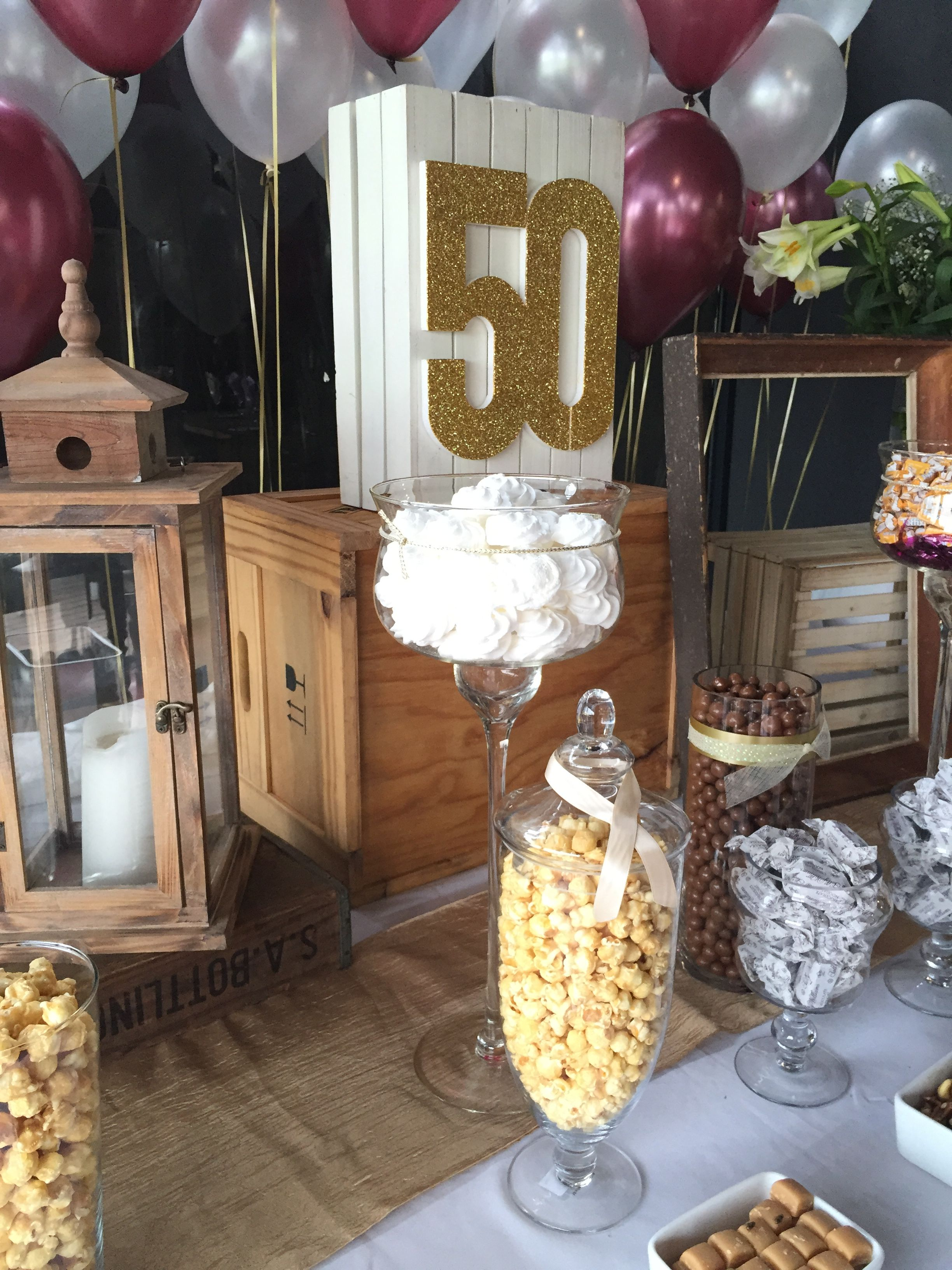 Wine Red Gold Rose Gold 50th Birthday Celebrations Decor Rustic Chic Candy Table Wine Decor Decor Chic Birthday