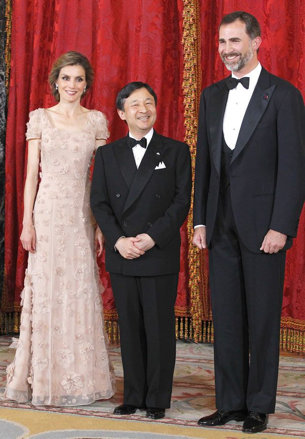 Los Príncipes de Asturias, durante la cena de gala celebrada en honor de Naruhito de Japón