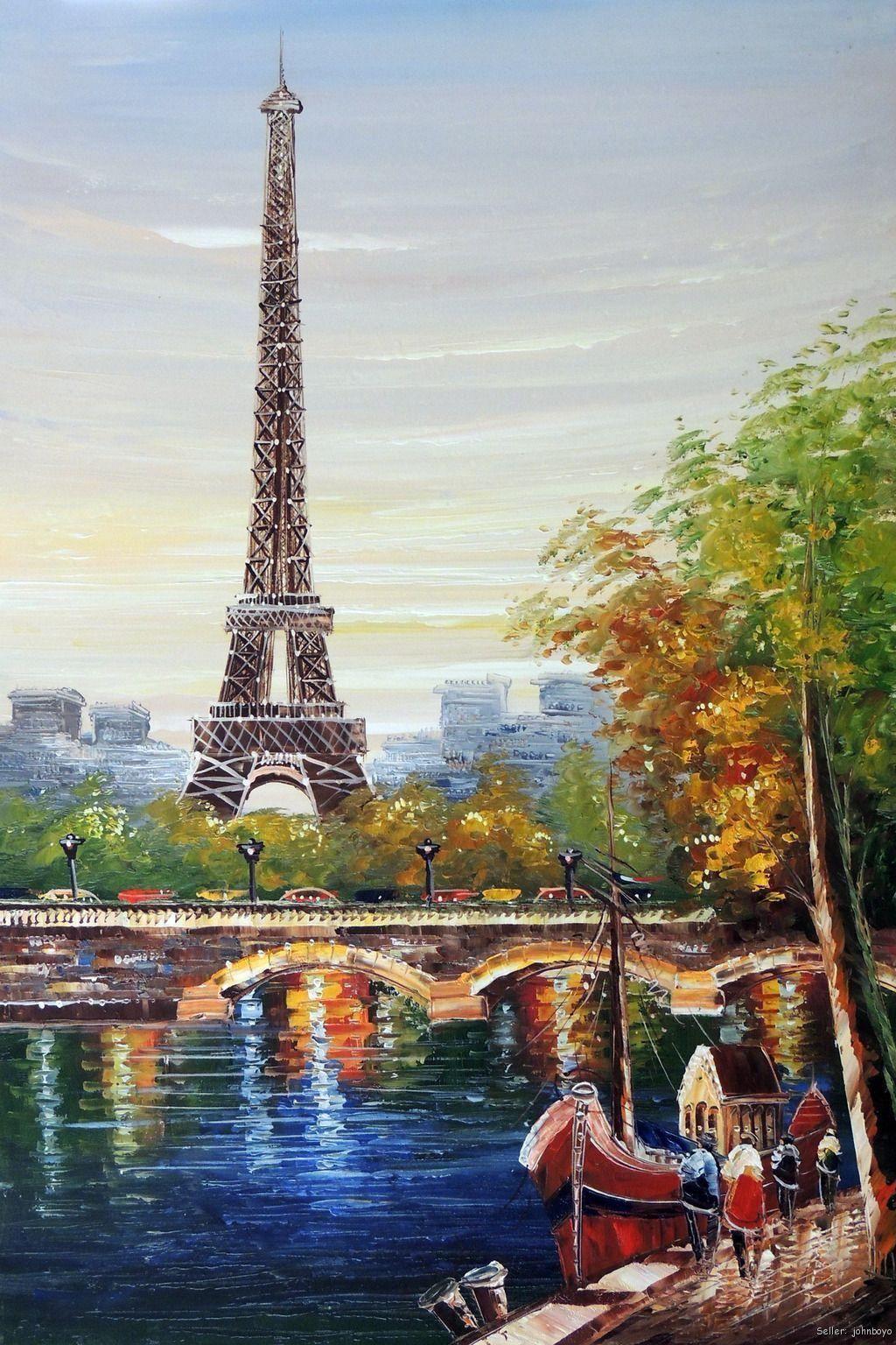 Handcraft Art Oil Painting On Canvas Eiffel Tower Paris River
