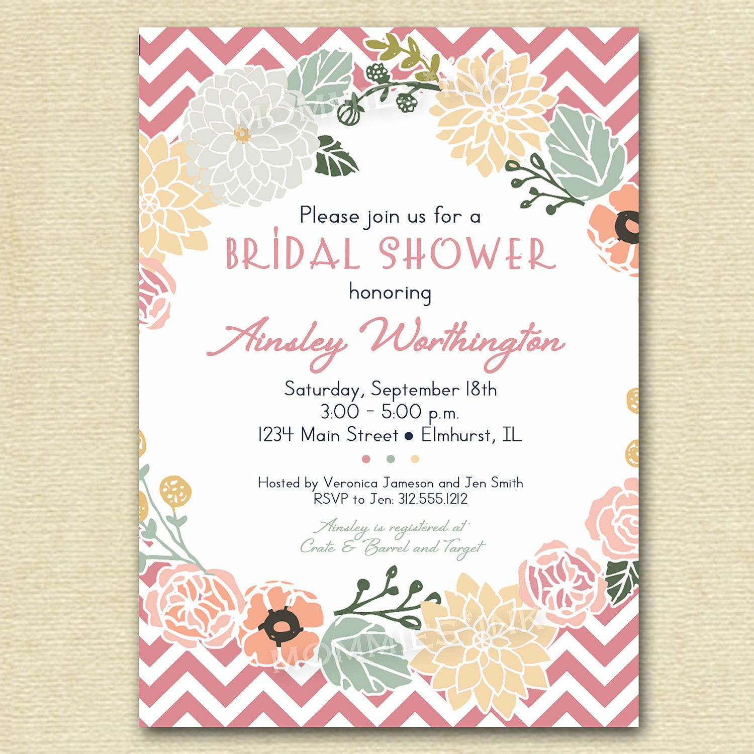 Vintage Flower Wreath And Pink Chevron Bridal Shower