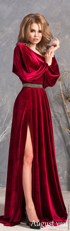3d4281189c1498c Купить Платье из Королевского бархата, летучая мышь, макси длина с разрезом.  - бархатное