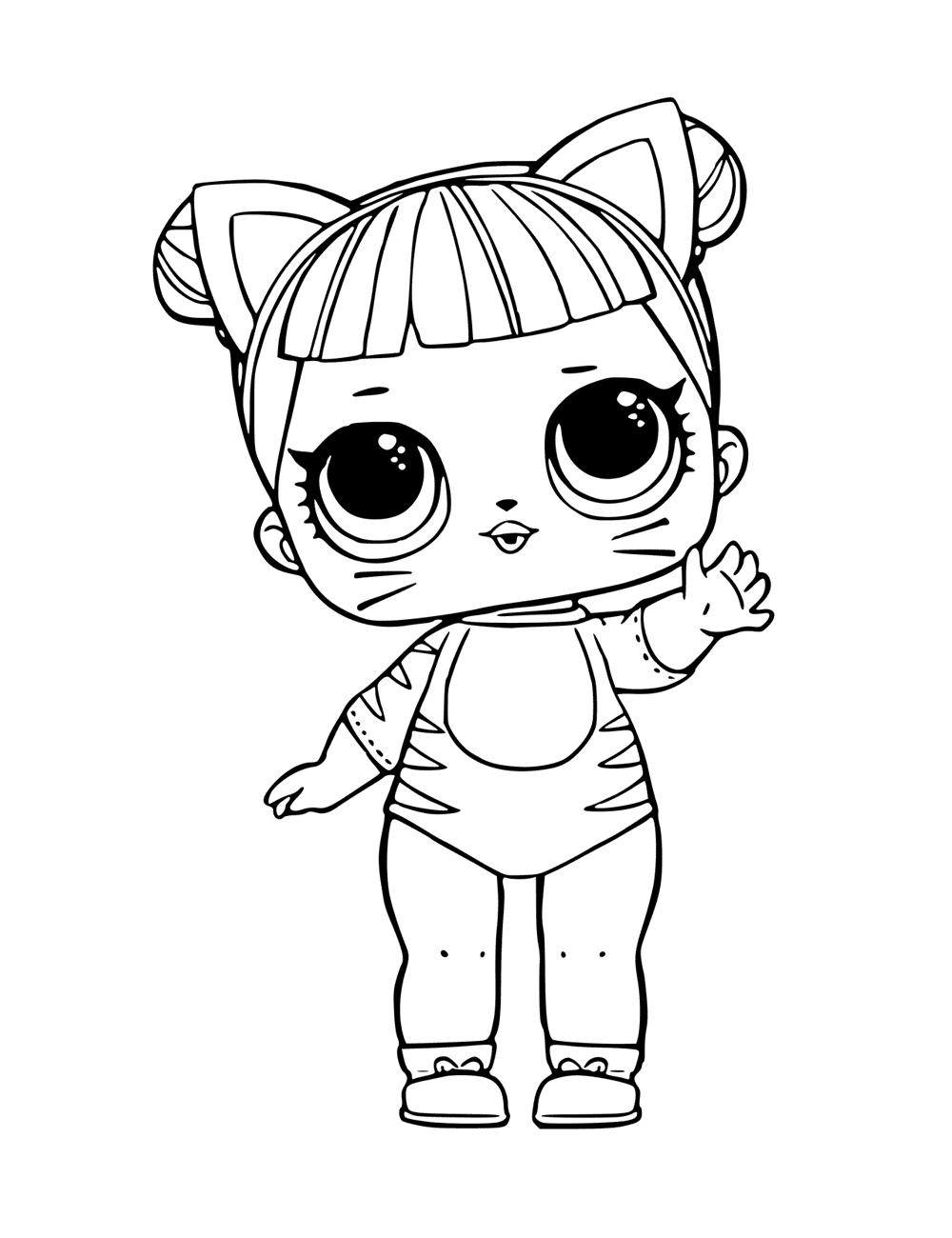 Раскраски «Куклы LOL» - «Кукла ЛОЛ кошка» | Детские ...