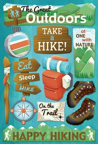PAPER HOUSE BACK TO NATURE CAMPING HIKING OUTDOORS CARDSTOCK SCRAPBOOK STICKERS