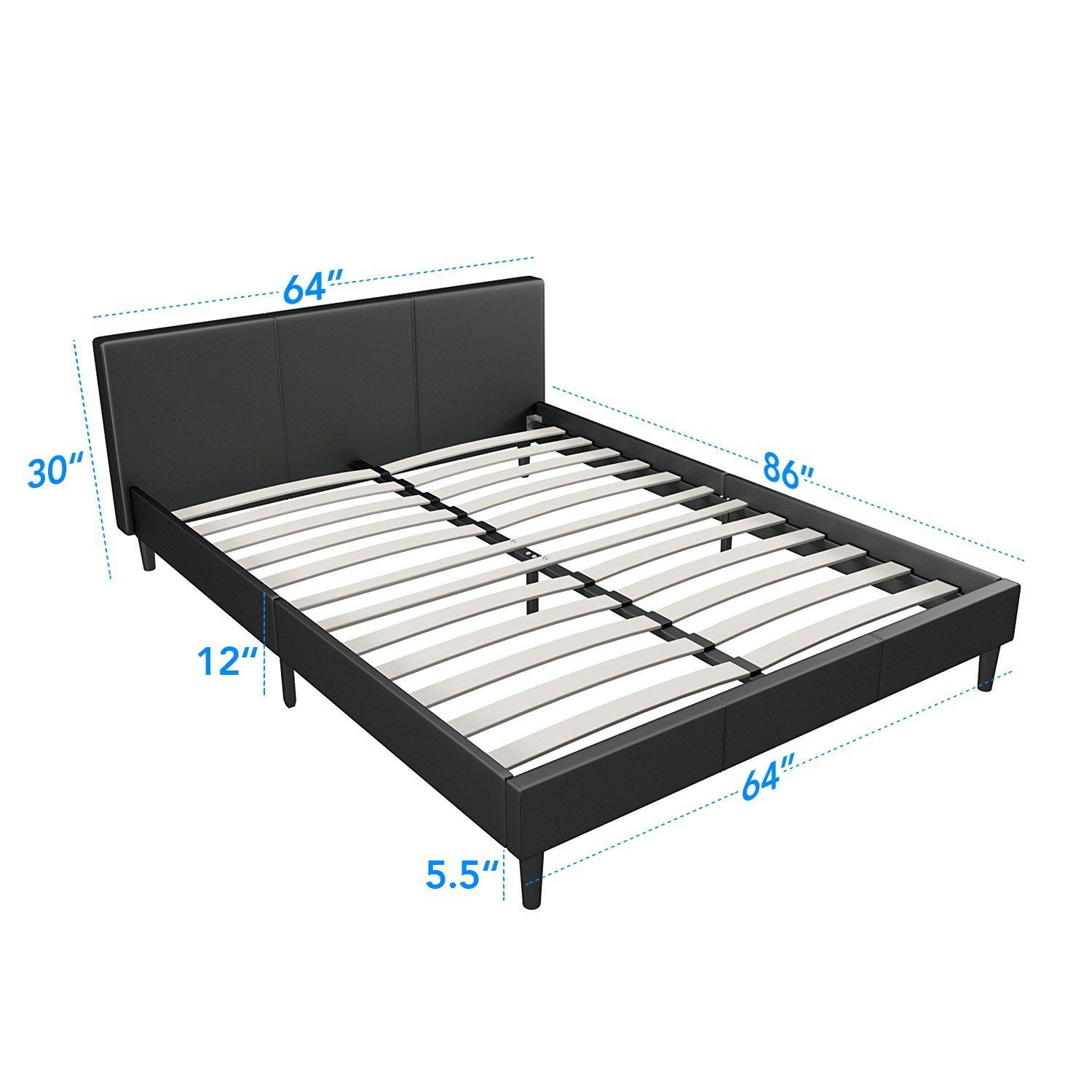 Best Amazon Com Manhattan Queen Bed Frame Modern Style Low 640 x 480