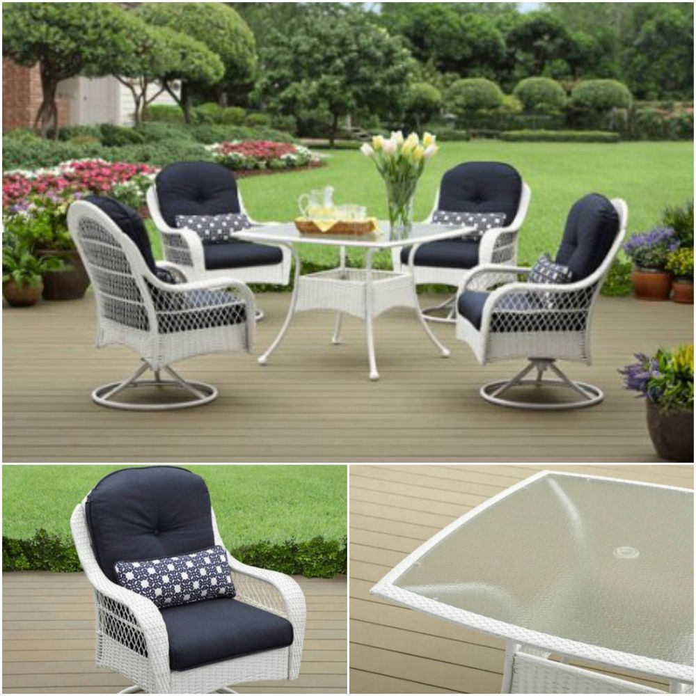 Pleasant 5 Piece Patio Dining Set Outdoor Wicker Swivel Chairs Glass Caraccident5 Cool Chair Designs And Ideas Caraccident5Info