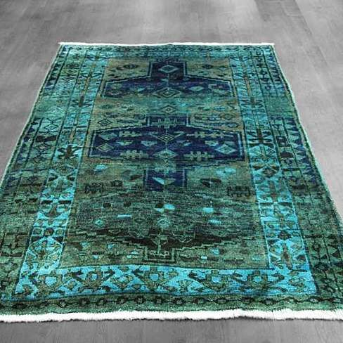 5x7 Overdyed Northwest Persian Geometric Military Green Teal Blue Rug Woh 1362
