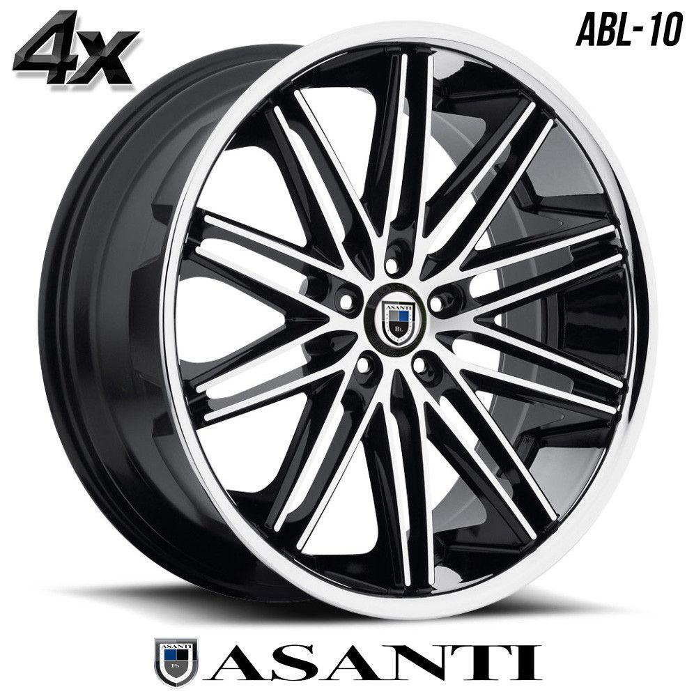 Asanti black label in machined black with chrome lip custom wheels rims
