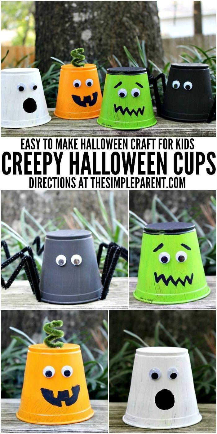 kids halloween craft projects: creepy halloween cups   activities