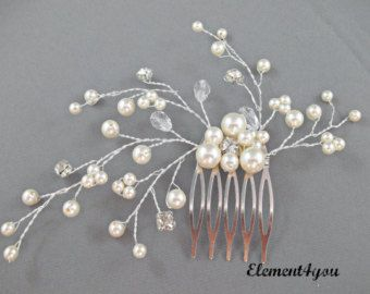 Bridal Comb Ivory Pearls Hair Piece Wedding By
